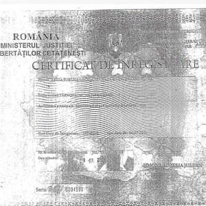 CERTIFICAT DE INREGISTRARE CAMERA DE COMERT